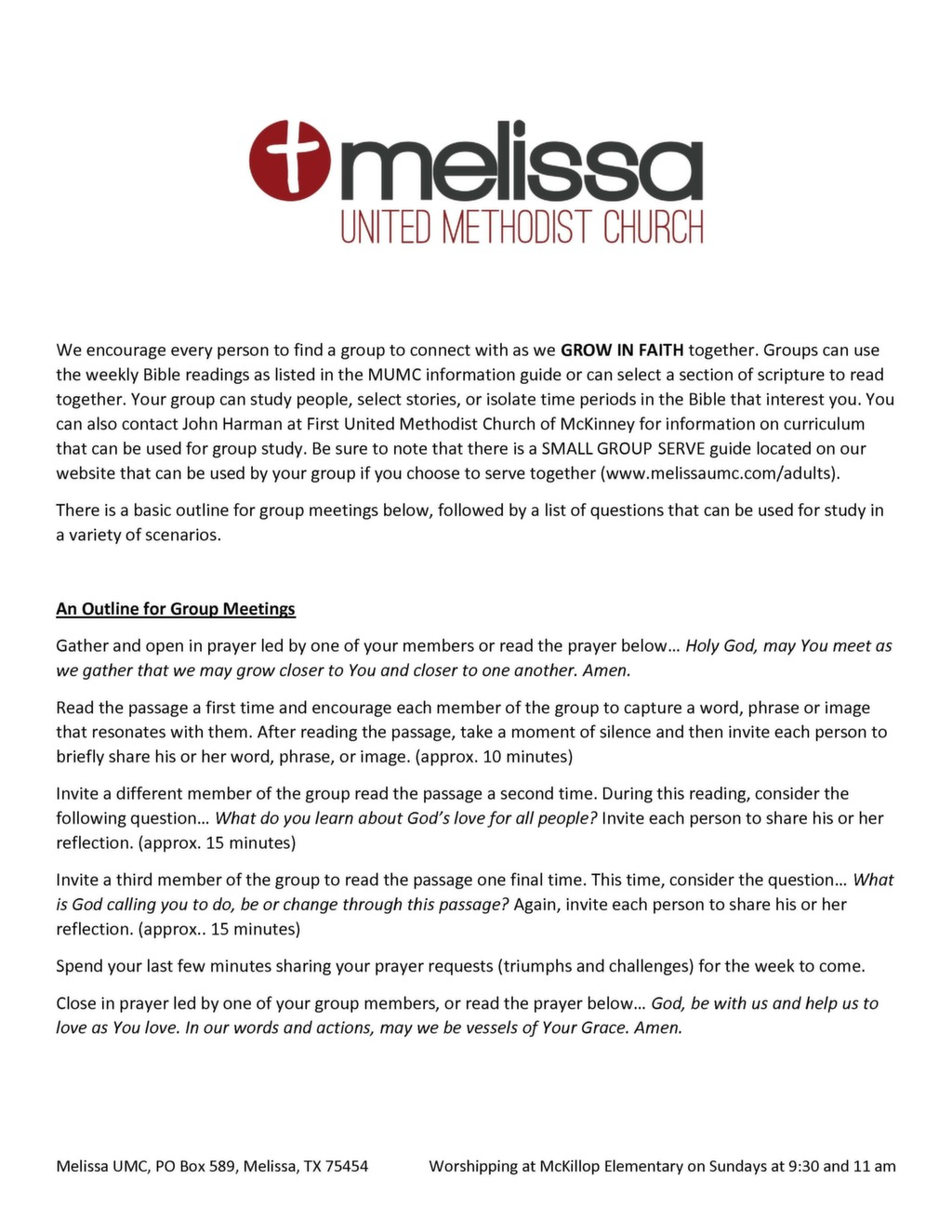 Small Group Discussion Guide Template Melissa United